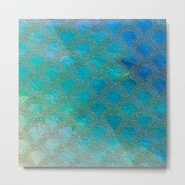 Sea Ocean Waves effect- Gold and Aqua Scales Pattern Metal Print