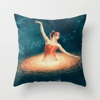 nan lawson Throw Pillows featuring Prima Ballerina Assoluta by Paula Belle Flores