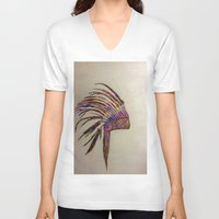 native american V-neck T-shirts featuring Native  by Emily Bingham