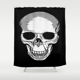Monotone Skull Shower Curtain