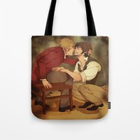 grantaire Tote Bags featuring Enjolras/Grantaire by Marta Milczarek