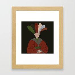 Flemish Floral Woman Portrait Framed Art Print