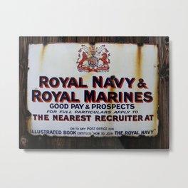 Royal Navy & Royal Marines Vintage Advert Metal Print