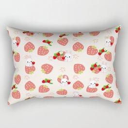 Bunnies and Strawberries Rectangular Pillow