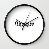 flawless Wall Clocks featuring FLAWLESS by imlvh