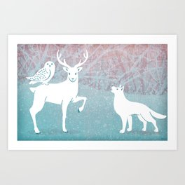 Winter In The White Woods Art Print