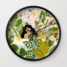 Bathing with Plants Wall Clock