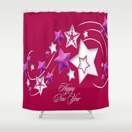 Fucshia and Red Happy New Year Shooting Stars Shower Curtain
