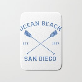 Vintage Ocean Beach San Diego Vacation graphic Bath Mat