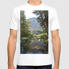 Mountain Stream MEDIUM White Mens Fitted Tee