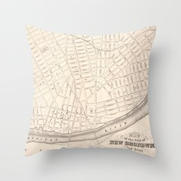 Vintage Map of New Brunswick NJ (1837) Throw Pillow