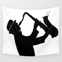 saxophone Wall Tapestries featuring The Saxophone Man   by Queenmissy