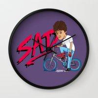 sad Wall Clocks featuring Sad by Chris Piascik