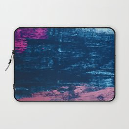 Early Bird [2]: A vibrant minimal abstract piece in blues and pink by Alyssa Hamilton Art Laptop Sleeve