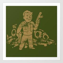 Fallout Vault Boy With Gun Art Print