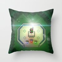 sword Throw Pillows featuring Master Sword by VGPrints