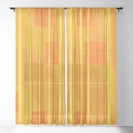 Stripes - Geometry Design Yellow Sheer Curtain