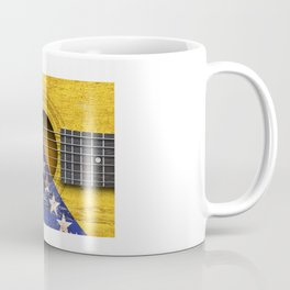 Old Vintage Acoustic Guitar with Bosnian Flag Coffee Mug