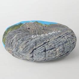 Cross on twisted rocks Floor Pillow