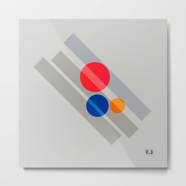 Abstract Suprematism Equilibrium Art Red Blue Yellow Metal Print