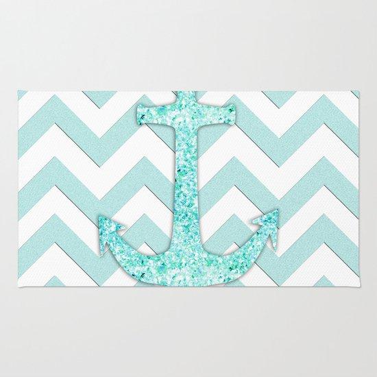 Glitter Nautical Anchor, Teal Blue Chevron