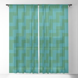 Teal Green and Cadmium Green Steps RTL Sheer Curtain