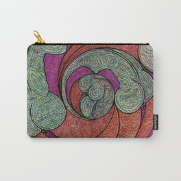 Green Orange and Purple Downward Spiral Carry-All Pouch