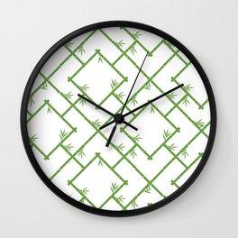 Bamboo Chinoiserie Lattice in White + Green Wall Clock