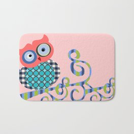 Nursery Baby Infant Kids Home Decor Modern Graphic Design Furniture Colorful Bird Owl on a Branch Bath Mat