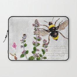 Cottage Style Thyme, Bumble Bee, Hummingbird, Herbal Botanical Illustration Laptop Sleeve