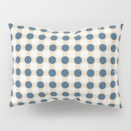 Dark Blue and Off White Uniform Large Polka Dots Pattern on Beige Matches Chinese Porcelain Blue Pillow Sham
