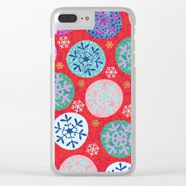 Floral Winter in red. Clear iPhone Case