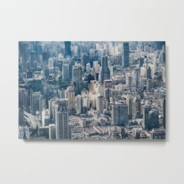 Twilight Shanghai city China aerial view Metal Print