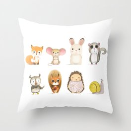 Mr. Squirrel & His Friends Throw Pillow