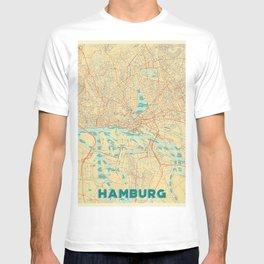Hamburg Map Retro T-shirt