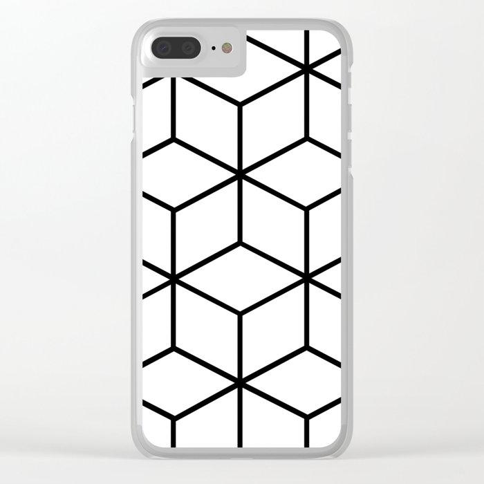 Black and White - Geometric Cube Design I Clear iPhone Case