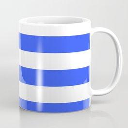 Even Horizontal Stripes, Blue and White, L Coffee Mug