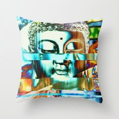 Glitch Buddha #3 Throw Pillow
