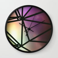 one line Wall Clocks featuring Line One by Jillian VanZytveld