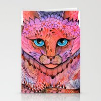 stickers Stationery Cards featuring SUNSET CAT by Ola Liola
