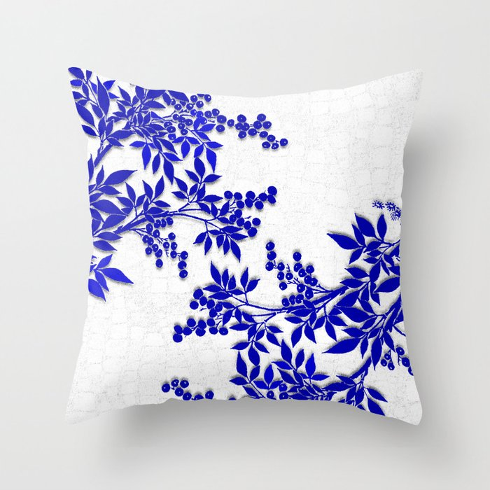 BLUE AND WHITE  TOILE LEAF Throw Pillow