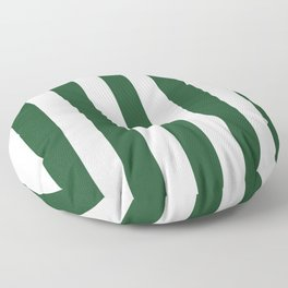 Cal Poly Pomona green - solid color - white vertical lines pattern Floor Pillow