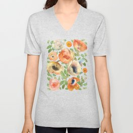 Orange Spring Flowers II Unisex V-Neck