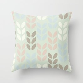 Scandinavian leaves on a light green background design for home ornament. Throw Pillow