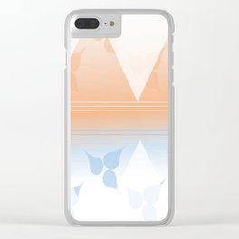 Delightful pink and blue leafs Clear iPhone Case