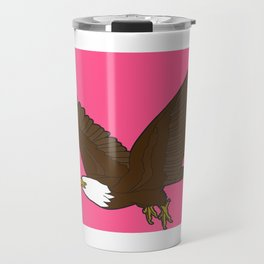 Bird Art Artwork Bald Eagle Flying In Sky Pink Travel Mug