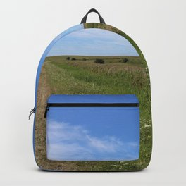 Blue Sky over green North Sea Island Pellworm Backpack
