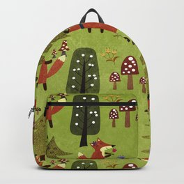 Happy foxes in the forest - Cute Fox Pattern Backpack
