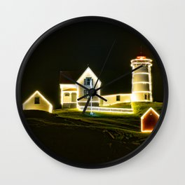 Christmas in July - Nubble Lighthouse, York, Maine Wall Clock