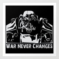 fallout 3 Art Prints featuring Fallout 3 War Never Changes by Krakenspirit